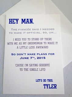 Groomsman Wedding Invite Card - Will you be my Groomsman? Funny