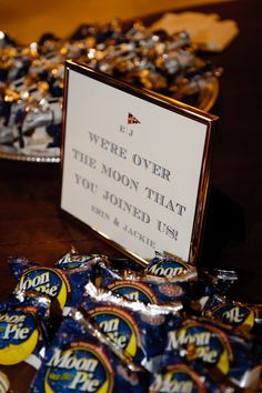 """We're over the moon that you joined us!"" MoonPie Wedding Treat Dessert Favors by Let the Tide Pull Your Dreams Ashore"