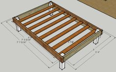 Basic frame plan for a queen bed. (Text with this link is about bunk beds, though.)