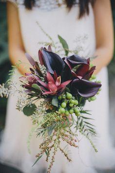 Eggplant purple, green and burgundy bouquet. Photography: Rad + In Love - www.radandinlove.com