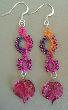 Earrings with leaf by Yarnplayer on Flickr: Cute tatted earrings featuring a glass leaf, my hand dyed size 20 thread used in split rings, and size 11 seed beads. #tatting #jewelry