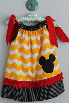Yellow Chevron Mickey Mouse Minnie Mouse Inspired Pillowcase Dress