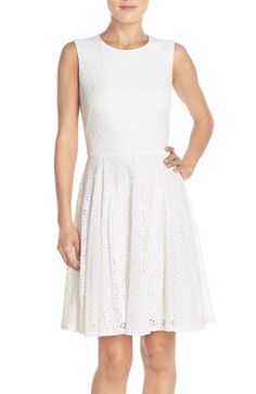 05acd3a344 Maggy London Lace Fit  amp  Flare Dress available at  Nordstrom White  Sleeveless Dress