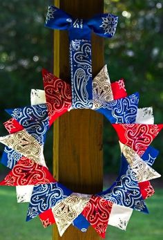 red white blue wreath made from bandanas