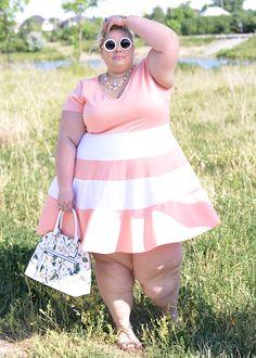 Plus Size Clothing for Women - V-Neck Skater Dress - Peach - Society+ - Society…