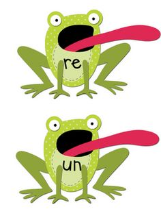"""Frog Affix"" Very cute differentiation/center activity for teaching about prefixes and suffixes."