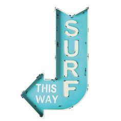 Blauw metalen SURF muurbord met pijl 50 x 80 cm