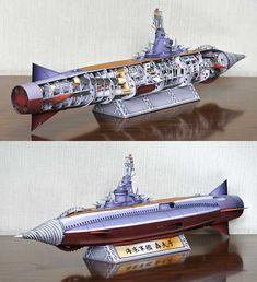 Very Detailed Gotengo Submarine Battleship Paper Model