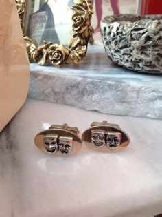 Cufflinks by SWANK. Comedy and Tragedy motif in silver and gold. Unisex.