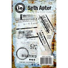Post Office is a set of five hand-designed art stamps from acclaimed mixed media artist, instructor and author Seth Apter, deeply etched, red rubber that is backed with repositionable cling cushion Mixed Media Artists, Mixed Media Collage, Hand Designs, Post Office, Book Art, Design Art, Stamps, Cushion, Author