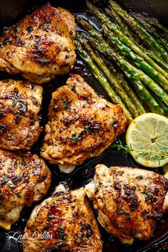 One Pan Lemon Thyme Chicken Asparagus is a super easy 'throw-together' recipe. Healthy and made with only a handful of uncomplicated ingredients!