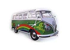 VW Bulli Camper Bus Wall Clock - Design: Peace