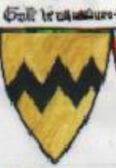 A modern representation of the arms of Vavasour as blazoned in the Siege of Caerlaverock poem (Or, dancetty Sable).