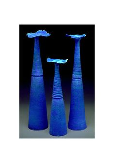 Pottery Vases Vessels 3 Handmade Coral Wave Art by blueroompottery