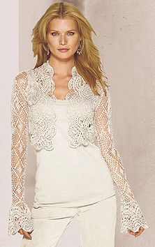 Bolero crochet jacket - beautiful - but its for INSPIRATION only. No need to go to the website Gilet Crochet, Crochet Shrug Pattern, Crochet Coat, Crochet Jacket, Crochet Cardigan, Crochet Clothes, Crochet Patterns, Crochet Waistcoat, Bolero Crochet