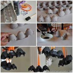 Make a magnificent recycled decoration this hallowen with a .- Make a magnificent recycled decoration this hallowen with an egg box. Halloween Items, Homemade Halloween, Halloween Crafts, Halloween Decorations, Halloween Party Appetizers, Halloween Food For Party, Disney Halloween, Manualidades Halloween, Adornos Halloween