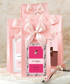 """Pink """"Delivered With Love"""" Boxes From The Personalized Expressions Collection at WeddingFavors.org"""