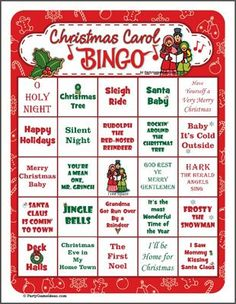 Christmas Carols & Bingo combined into one. Love It! I can see some of my favorite Christmas Songs in here. http://www.partygameideas.com/christmas-carol-bingo/ #christmascarols #bingo #christmasbingo