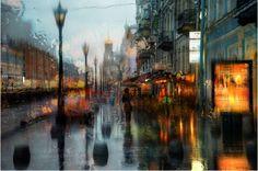 Eduard Gordeev è un fotografo che vive a San Pietroburgo. Esegue bellissime fotografie di paesaggio urbano sotto la pioggia.