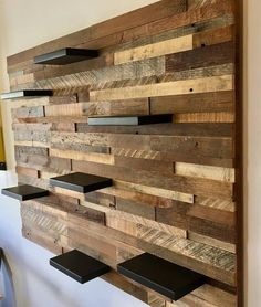 Reclaimed Barn Wood Wall Art (With 7 Shelves - Wood Projects Wood Pallet Recycling, Wooden Pallet Projects, Wooden Pallets, Recycling Ideas, Recycled Pallets, Recycled Wood, Diy Projects, Pallet Walls, Pallet Furniture
