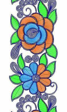 Rose Cording Designer Border Lace Embroidery Design