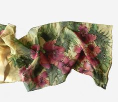 Hibiscus flower  green and red hand painted silk by ArmeniaOnSilk, $95.00