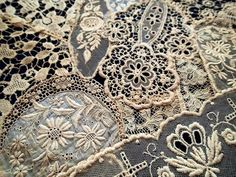 This Pin was discovered by Nan Antique Lace, Vintage Lace, Vintage Sewing, Lace Ribbon, Lace Fabric, Nottingham Lace, Pearl And Lace, Passementerie, Linens And Lace