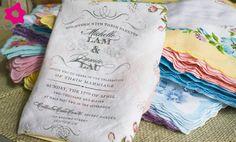 Convites de casamento em tecido. #casamento #convites