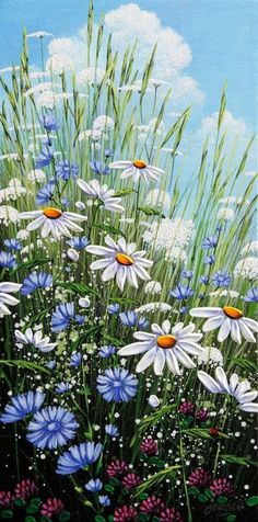 Summer& Chicory by Jordan Hicks, Acrylic on Canvas, Painting . Pictures To Paint, Art Pictures, Photos, Painting Techniques, Painting Inspiration, Flower Art, Wild Flowers, Beautiful Flowers, Watercolor Paintings