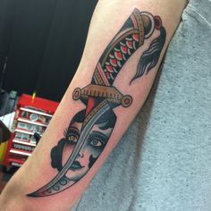 """sacredelectrictattoo: """"Dagger and lady by Bailey email sacredelectrictattoo@gmail.com """" Shaun Bailey"""