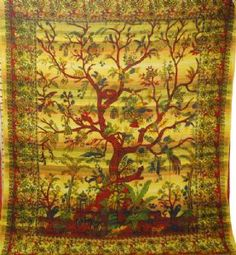 Hippy Throw~Floral Tree of Life Bedspread/Throw/Wall Hanging 220x200cm Orange/Purple/Red/Turquoise~By Folio Gothic Hippy