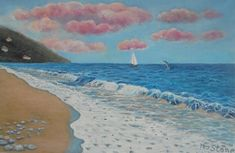 So Lucky by Petra Theodoridou, beach, seashore, sailboat, dolphin, pink clouds