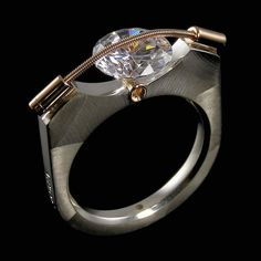 9mm Tension Ring in Sterling Silver 14KT Gold by Tomasz Plodowski Jewelry