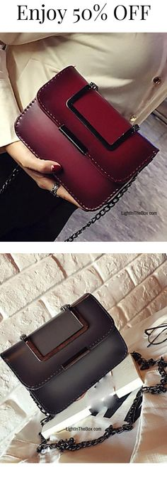 Bag is a great gift for Valentine's Day, don't you think? Check out this beautiful metal chain shoulder bag. Charming, isn't it? Find it in light grey, wine, brown and dark green colours at just $12.99. Enjoy 50% OFF.