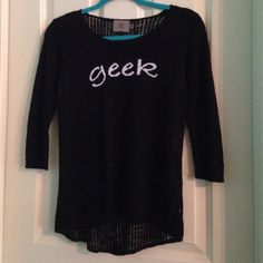 """XS/S Black """"Geek"""" sweater """"geek"""" sweater--- XS, maybe small depending on your height---- worn a handful of times---- amazing condition--- no problems, just trying to buy new clothes for fall Sweaters"""
