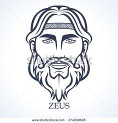 Zeus, ancient greek god, Supreme god of the Olympians - stock vector
