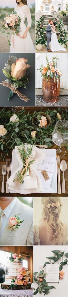 Rustic Peach Wedding Inspiration....add propped and it would be beautiful