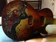 Painted Guitars, Guitar Painting, Airbrush Art, Pinstriping, Venom, Custom Paint, Spiderman, Guns, Marvel