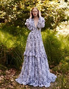 31 Tiered Gravure Printed Chiffon Long Dress, with Bishop Sleeves & 'V' Neck Chiffon Dresses With Sleeves, Chiffon Dress Long, Frill Dress, Tulle Dress, Lace Dress, Creation Couture, How To Pose, Tiered Dress, Print Chiffon