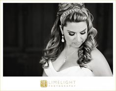 Limelight Photography, www.stepintothelimelight.com, Weddings, Grace Lutheran Church, St. Petersburg, Florida, Bride, Portrait, Black and White, Hair, Makeup, Jewelry, Necklace, Earrings, Hairband