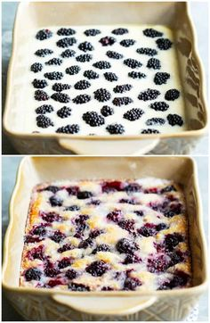 This easy Blackberry Cobbler recipe from The Pioneer Woman takes just 5 ingredients and 10 minutes to prepare. Easy Blackberry Cobbler, Blackberry Recipes Easy, Black Berry Recipes, Blackberry Ideas, Blackberry Cake, Blueberry Cobbler, Easy Desserts, Delicious Desserts, Yummy Food