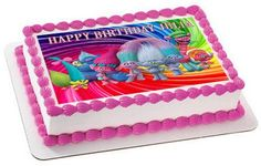 Trolls Edible Birthday Cake Topper OR Cupcake Topper, Decor