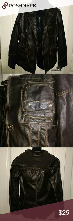 Dollhouse Distressed Faux Leather Jacket Distressed Faux Leather Brown Jacket Dollhouse Jackets & Coats