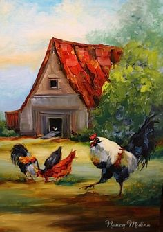 Farmyard Drama - Rooster Painting by Texas Artist Nancy Medina, painting by artist Nancy Medina