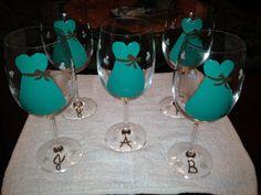 Bridesmaid invite glasses -dresses will be purple for me...
