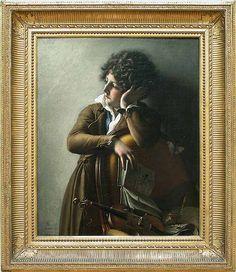 Anne-Louis GIRODET DE ROUSSY-TRIOSON (1767 - 1824) Portrait de Benoît Agnès Trioson (1790 – 1804), surnommé « Ruhehaus », 1800, Salon de 1800, sous le titre Jeune enfant étudiant son rudiment   H. : 0,73 m. ; L. : 0,59 m. Adepte des théories de Rousseau sur la réforme de l'éducation, Girodet dresse un portrait sensible du fils de son protecteur, le docteur Trioson. Délaissant ses jeux sadiques avec les insectes et ses devoirs, l'enfant s'ennuie dans la pose traditionnelle de la mélancolie.