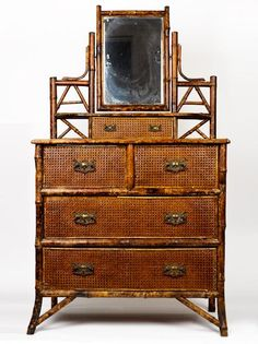 Victorian tortoiseshell bamboo chest of drawers with swivel mirrior, four drawers