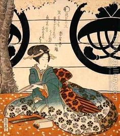 Beauty Viewing Flowers surimono by Gakutei Harunobu