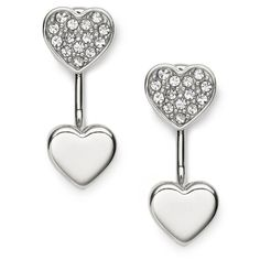 """Isn't it romantic? Our sparkling silver-tone studs fulfill your heart's desire—it's the perfect way to say """"Be mine!""""."""