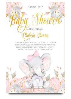 Elephant baby shower invitationelephant with flowers elephant elephant baby shower invitationelephant with flowers elephant pink elephant vintage elephant filmwisefo Gallery